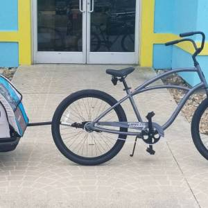 Gray Cruiser with Kiddy Kart Attached