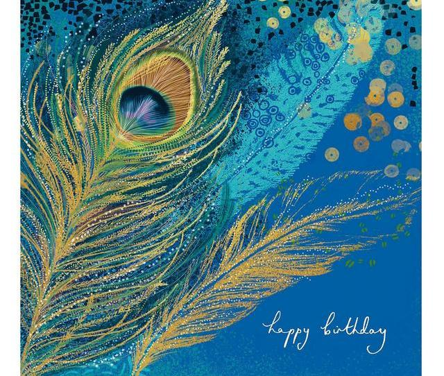 Peacock Feathers Happy Birthday Card