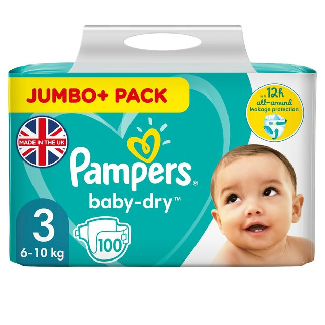 Pampers Baby Dry Nappies Size 3 Jumbo Pack 100 per pack