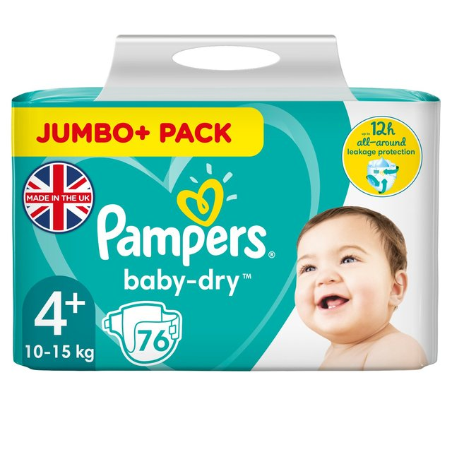 Pampers Baby Dry Nappies Size 4 Jumbo Pack 76 per pack