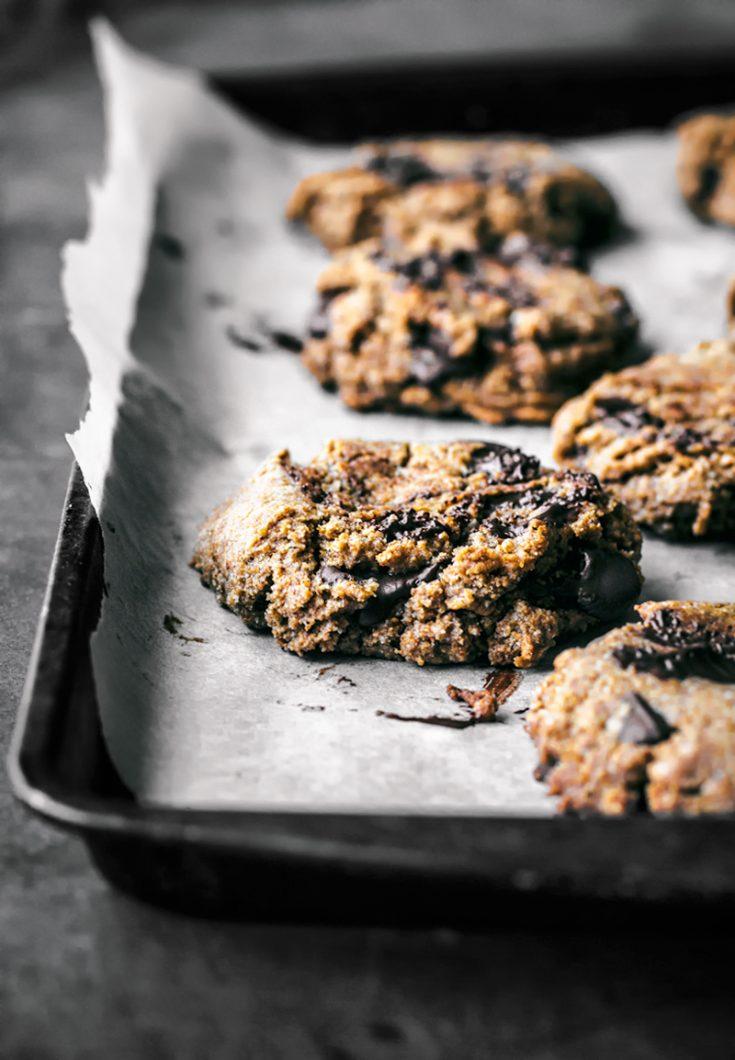 Vegan Almond Rye Chocolate Chip Cookies