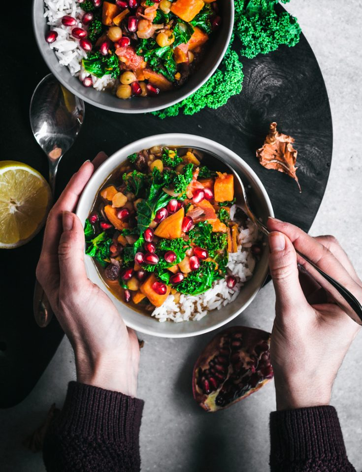 Moroccan Chickpea, Sweet Potato, and Kale Stew