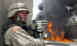 A US soldier in Iraq in 2004