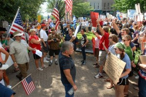 In 2010, anti-mosque protesters and counter-demonstrators confront each other in the streets