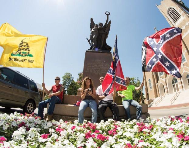 In Salisbury, NC, a spontaneous Confederate flag rally draws two dozen