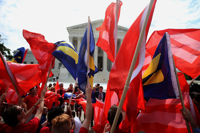 "The red flag of ""equal rights"" flies in triumph over Washington"