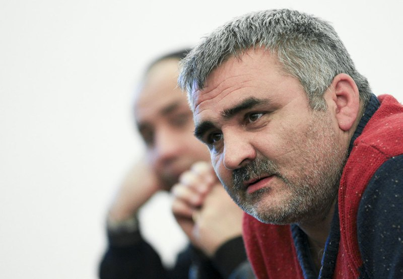 In this March 2, 2014 photo, Azerbaijani journalist Afgan Mukhtarli speaks at an event in Baku, Azerbaijan. (Photo: AP Photo/Aziz Karimov)
