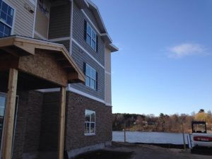 Lake Pointe Apartments overlooking Hart Lake are nearing completion.
