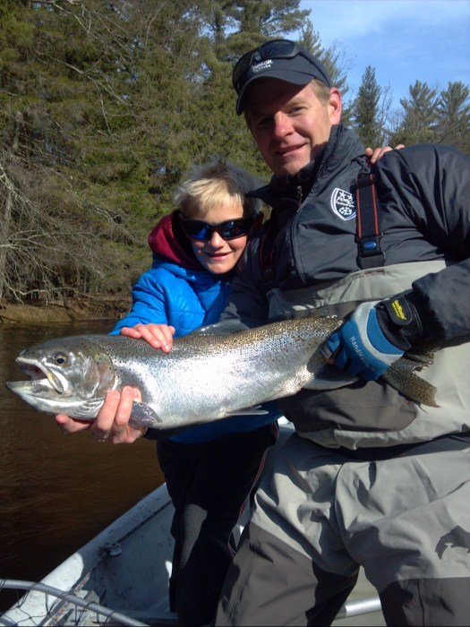 11-year-old Lincoln Judge caught his first PM steelhead on a fly.