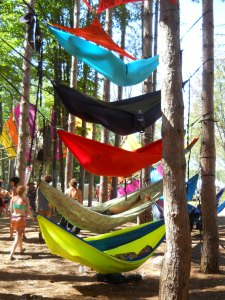 Hammocks in the Sherwood Forest during Electric Forest.