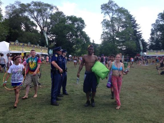 Michigan State Police troopers stand guard during the 2014 Electric Forest Festival.