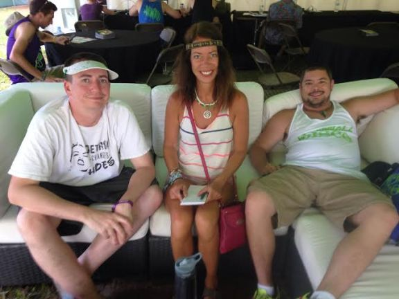Golf Clap members Bryan Jones, left, and Hugh Cleal take a break from their busy Electric Forest schedule during an interview with OCP Editor Allison Scarbrough.
