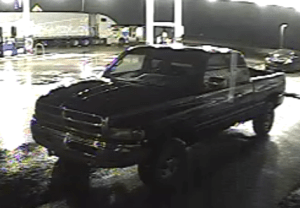 The suspected pickup truck involved in the unarmed robbery at the Hart Express EZ Mart convenience store.