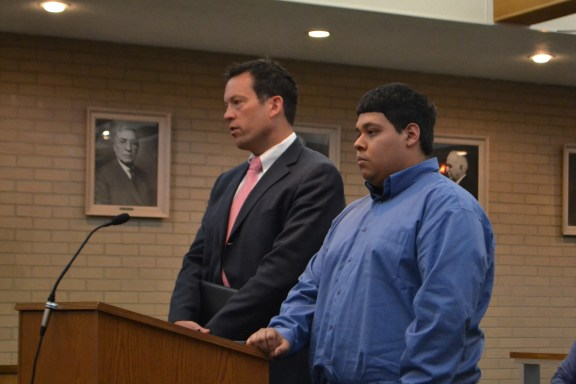 Isisoro Rosas, Jr., at right, with his attorney, James Marek.