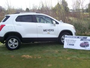 Shelby State Bank/Gales Insurance Agency, Wickstra and Meyers Chevrolet sponsor hole #17 and will give a new car to the first hole in one made on Saturday on that hole. It has never happened in 30 years -- maybe 31 is the lucky number...?
