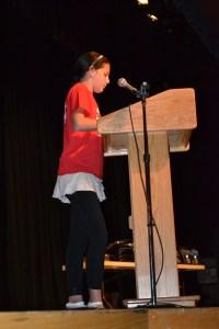 HMS student Kloe Dumont reads her TEAM essay.