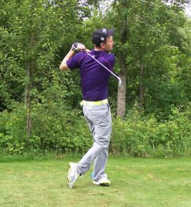 Kyle Klotz tees off Sunday. Klotz and his partner Mike DeRuiter finished the best of the locals - third in the Championship Flight.