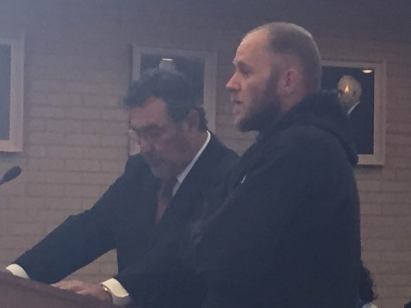 Mark Duchemin, at right, with his attorney.