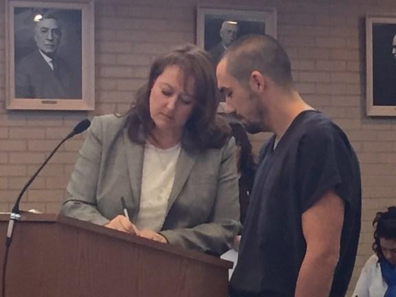 Patrick George with his attorney, Julie Springstead Waltz.
