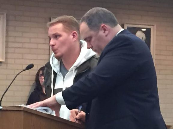 Anthony Aguilera, at left, with his attorney, Timothy Hayes.