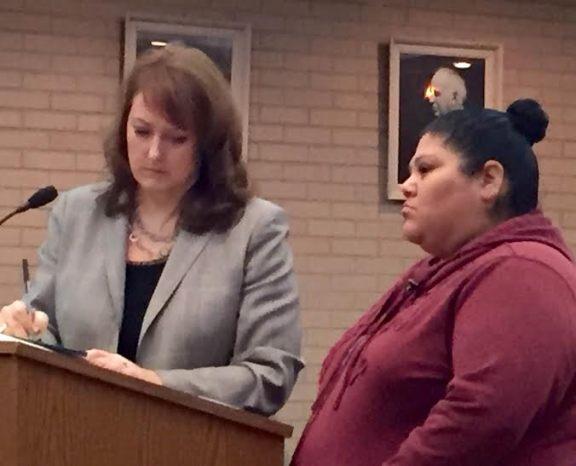 Diana Velazquez with her attorney, Julie Springstead Waltz.