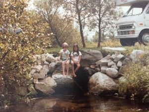 A young Allison Scarbrough, at left, with a friend enjoying the view of Cobmoosa Creek in Ferry Township.