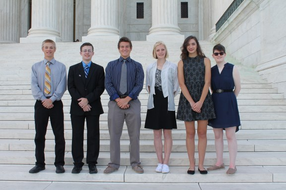 Six high school students represented electric cooperative Great Lakes Energy at the Rural Electric Youth Tour in Washington, D.C. June 11-16, 2016. Attending the event were (L to R) Cody DeVries, Alex Mason, Spencer Joles, Marie Groenink, Morgan Graeber and Daly Narmore.