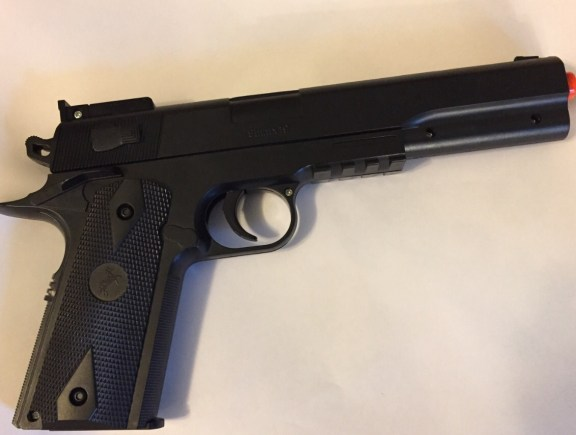 This air-soft pistol is similar to the gun found at Shelby High School last week.