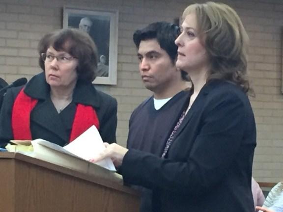 Xavier Sanchez with his attorney, Julie Springstead Waltz (right) and Spanish interpretor Kathy Fuehring.