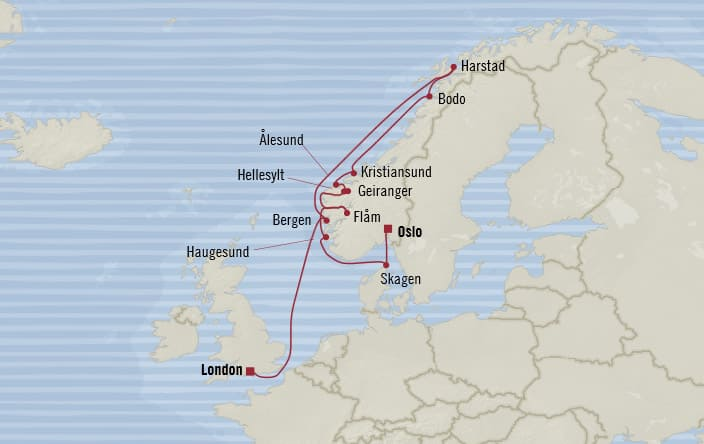 Oceania Cruises 12days from Oslo Norway to London
