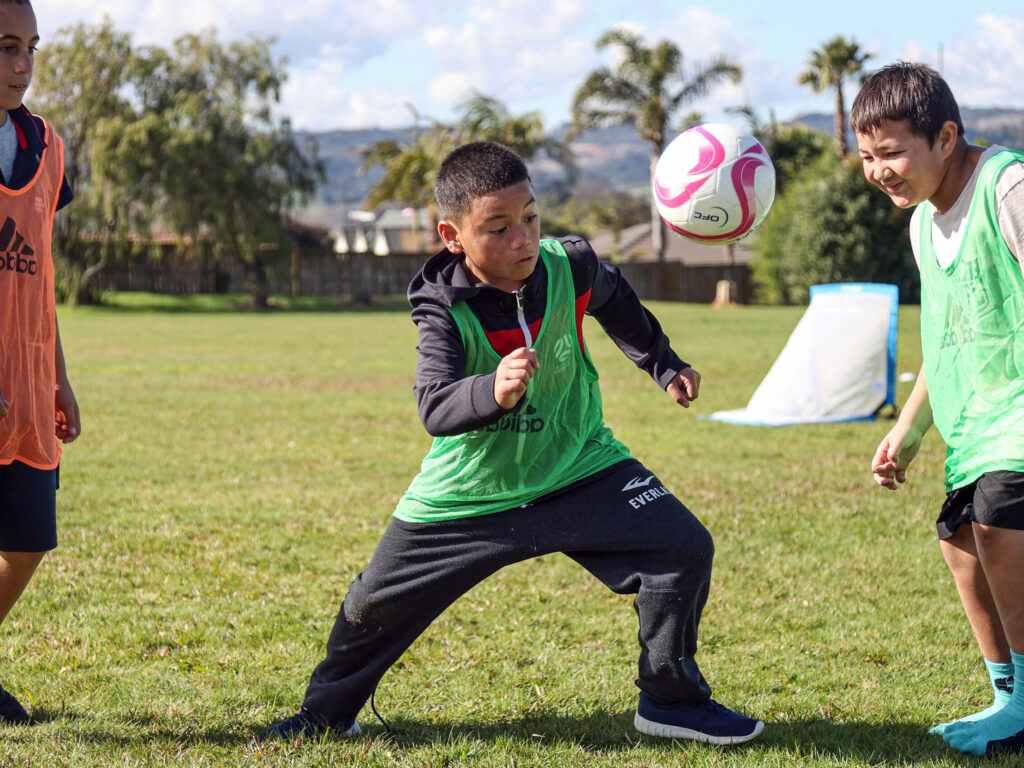 OFC take football to Park Estate Primary School. Park Estate Football Festival, Park Estate School, Papakura, Auckland, Tuesday 4th August 2020. Photo: Shane Wenzlick / www.phototek.nz