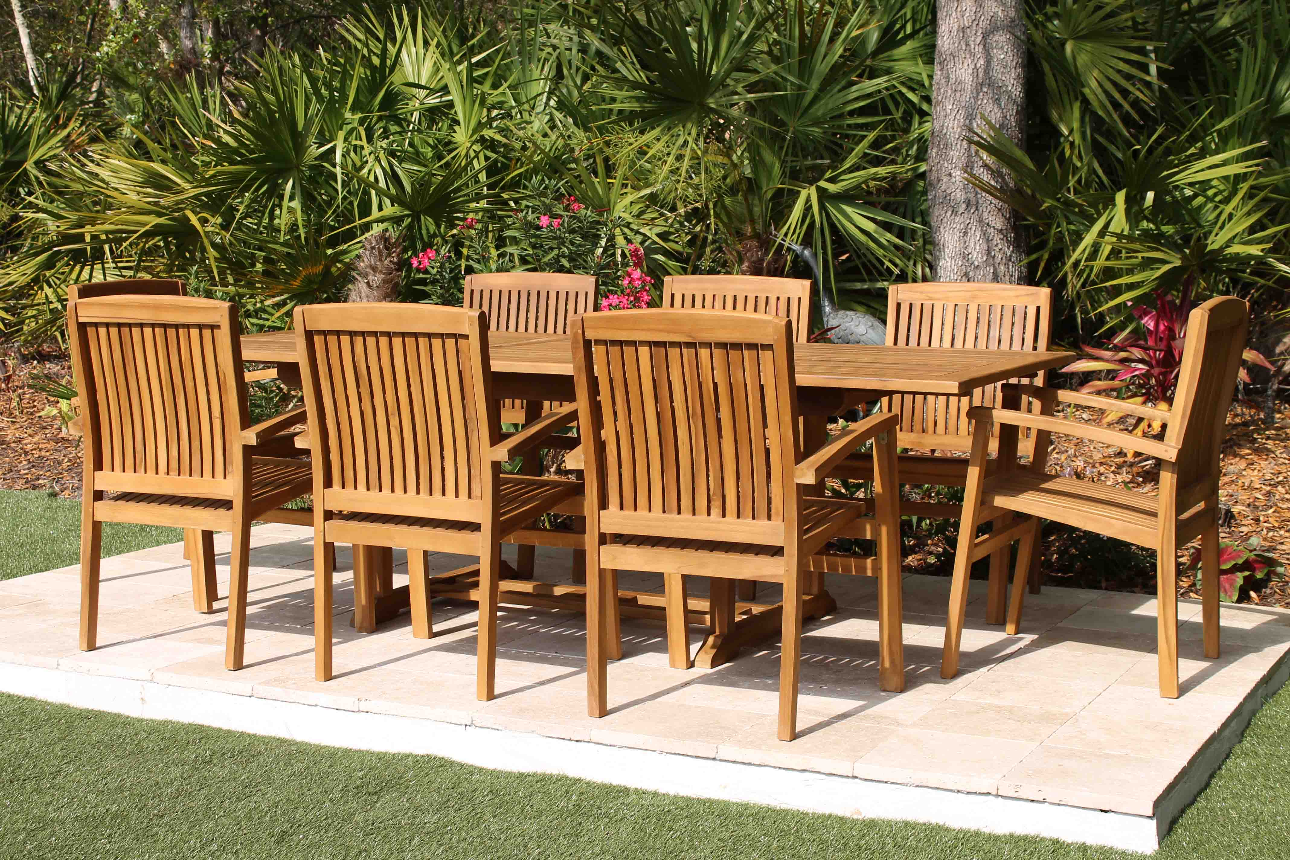 95in Rectangular Table  8 Pacific Chairs Teak Set