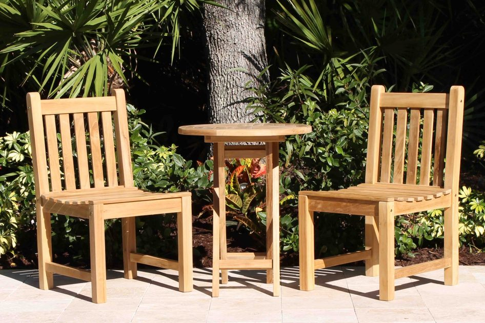 Folding Bistro Teak Table  Java Oval Chairs Set  Oceanic