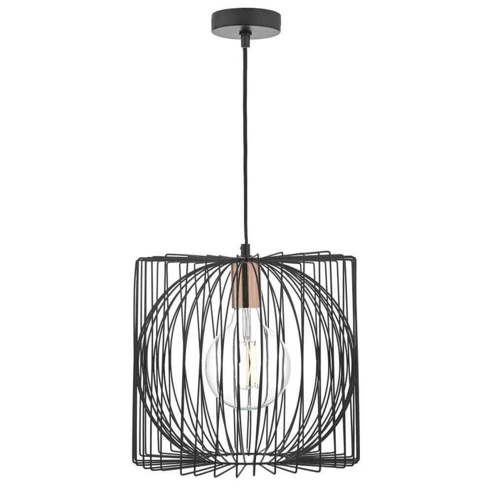Dar Taplow Black and Copper Wire Pendant Light