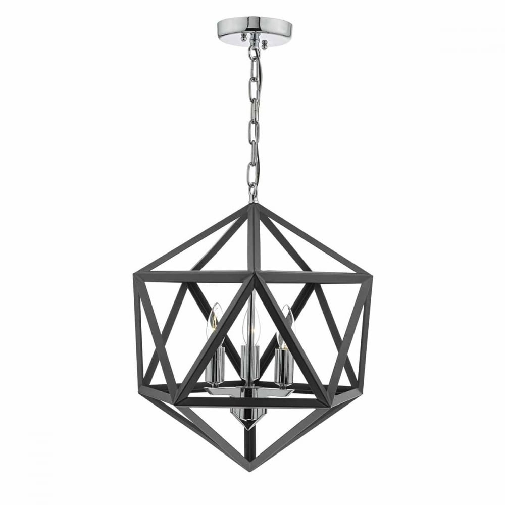 Dar Levaine Pendant Light Polished Chrome and Graphite