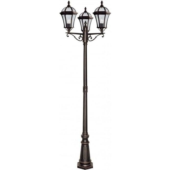 1569 3 capri 3 light outdoor garden lamp post rustic brown bevelled glass ip43 rated