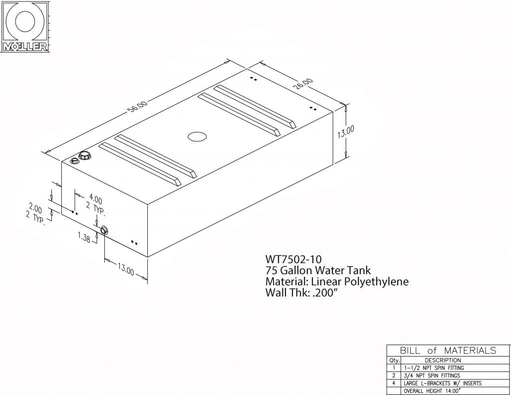 75 Gallon Rectangular Shaped Waste Water Tank 56 X26 X13