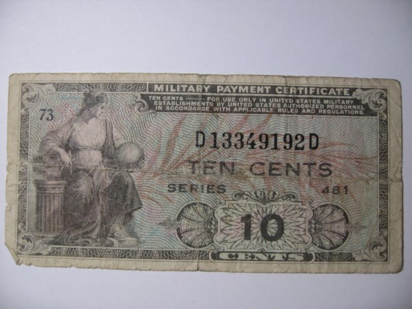 Military Payment Certificate Ten Cents Series 481