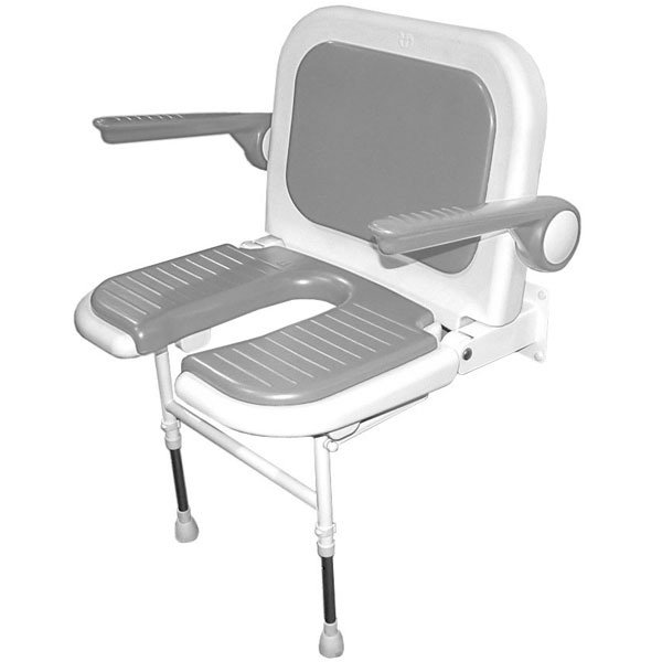 shower chair with back and armrests desk target akw wall mounted fold up wide padded u shaped 226 192 folding seat 1238 detail jpg