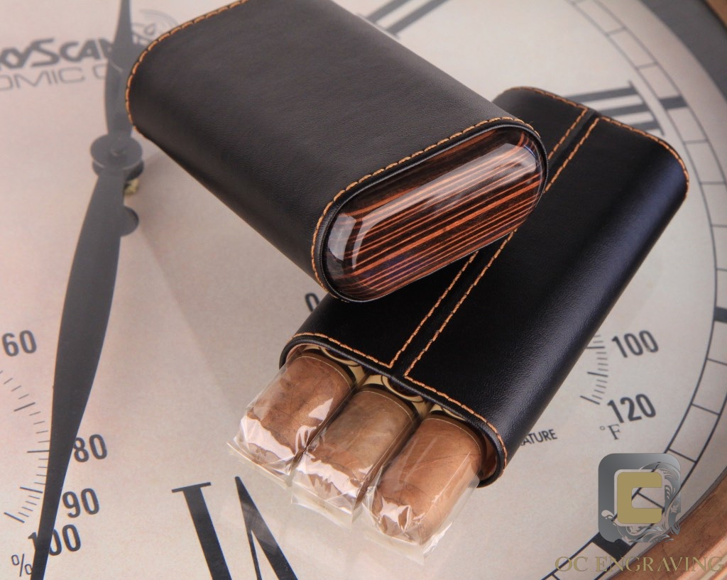Cigar Holder Black Leather