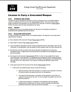 OCSD Policy 218
