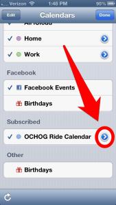 Select the arrow next to the OCHOG Ride Calendar listing