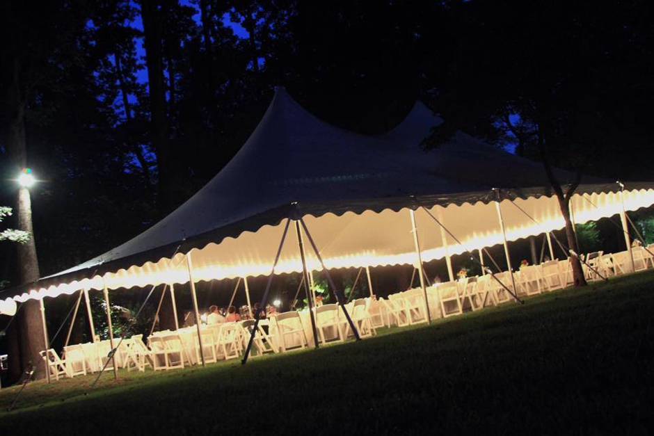 Oconee Events  Pole Tent with String Lights at John