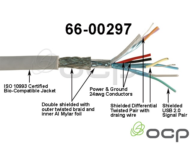 66-00297 - Bulk Cable, USB 3.0, Biocompatible, Grey
