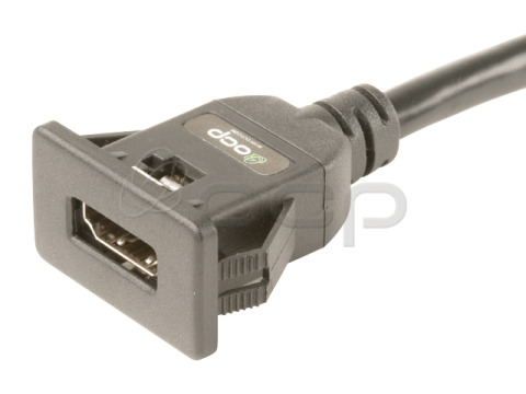 61-00207 - HDMI 2.0 Panel Mount Extension Female to Male Cable with Ethernet, Snap-In Style
