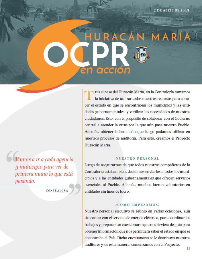 Portada Publicación, OCPR en Acción, Huracán María