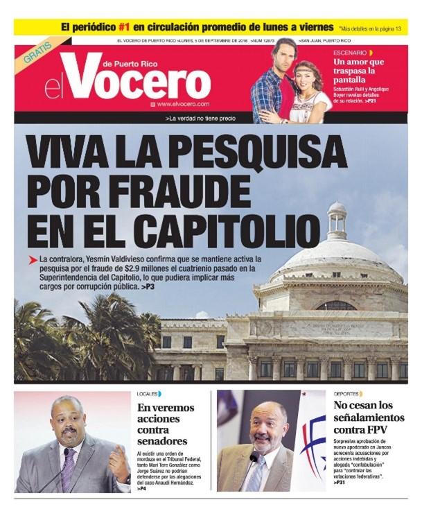 Portada Periódico El Vocero.