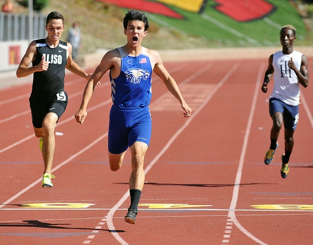 Santa Margarita's Blake Hennesay wins the 200 meter dash during the Orange County Track and Field Championships Saturday, April 22, 2017 at Mission Viejo High school. (Photo by Michael Fernandez, Contributing Photographer)