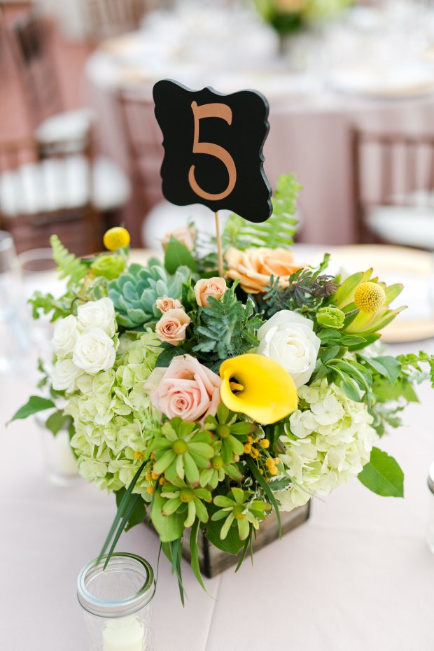 DIY Wedding ideas: Table numbers are made with  black parenthesis-style stakes from Michaels ($1.99 each) and added gold numbers to them. (Photo by Kaysha Weiner Photographer)