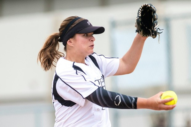 Pacifica's Hannah Boos pitches during an Empire League game at Kennedy High School in La Palma on Thursday, April 27, 2017. (Photo by Matt Masin, Orange County Register, SCNG)